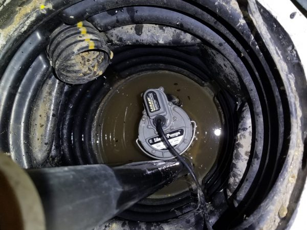 Sump Basket being Drained by pump